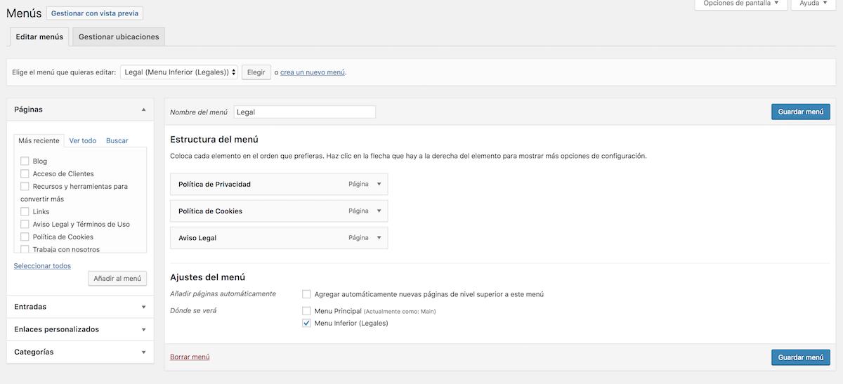 crear y editar menus en wordpress