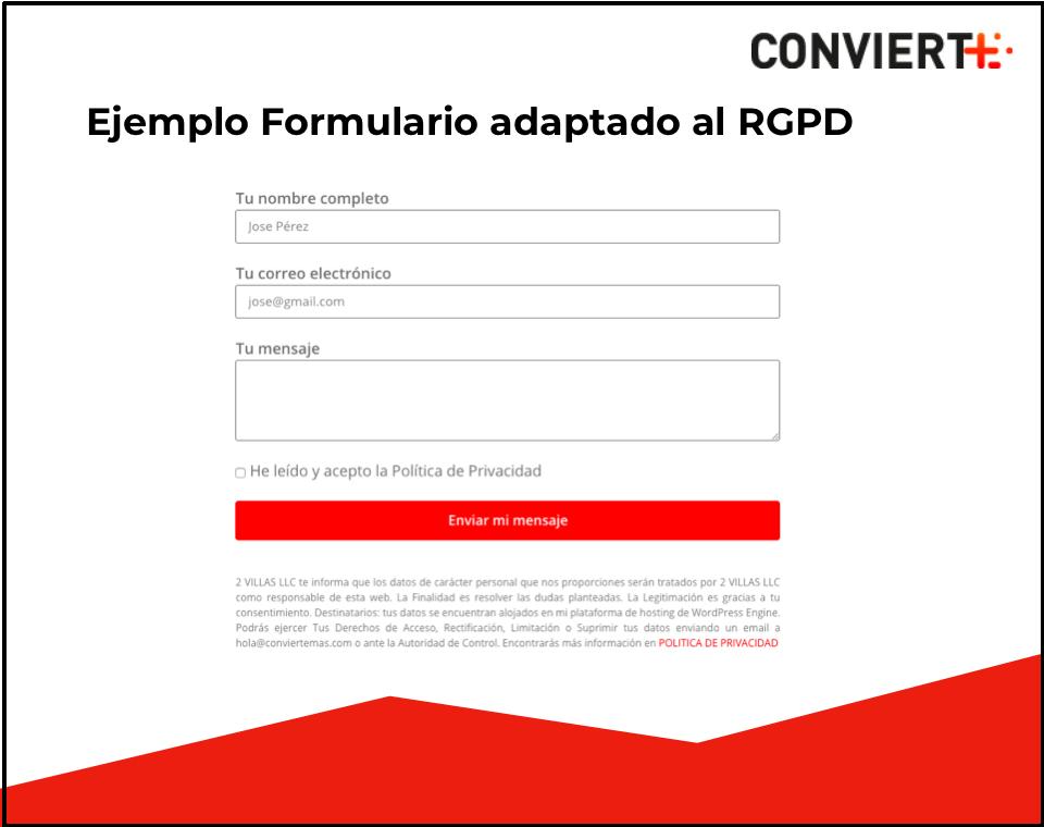 Ejemplo de formulario RGPD