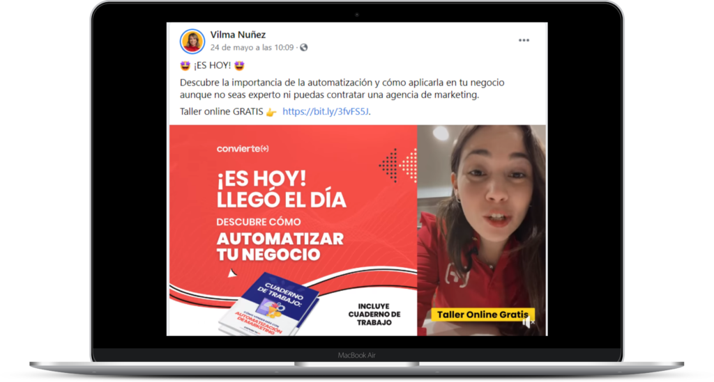 Ejemplo de página de Facebook de Vilma Núñez